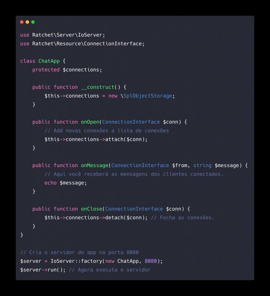 Exemplo de script que mostra como iniciar um servidor real time utilizando o Ratchet.